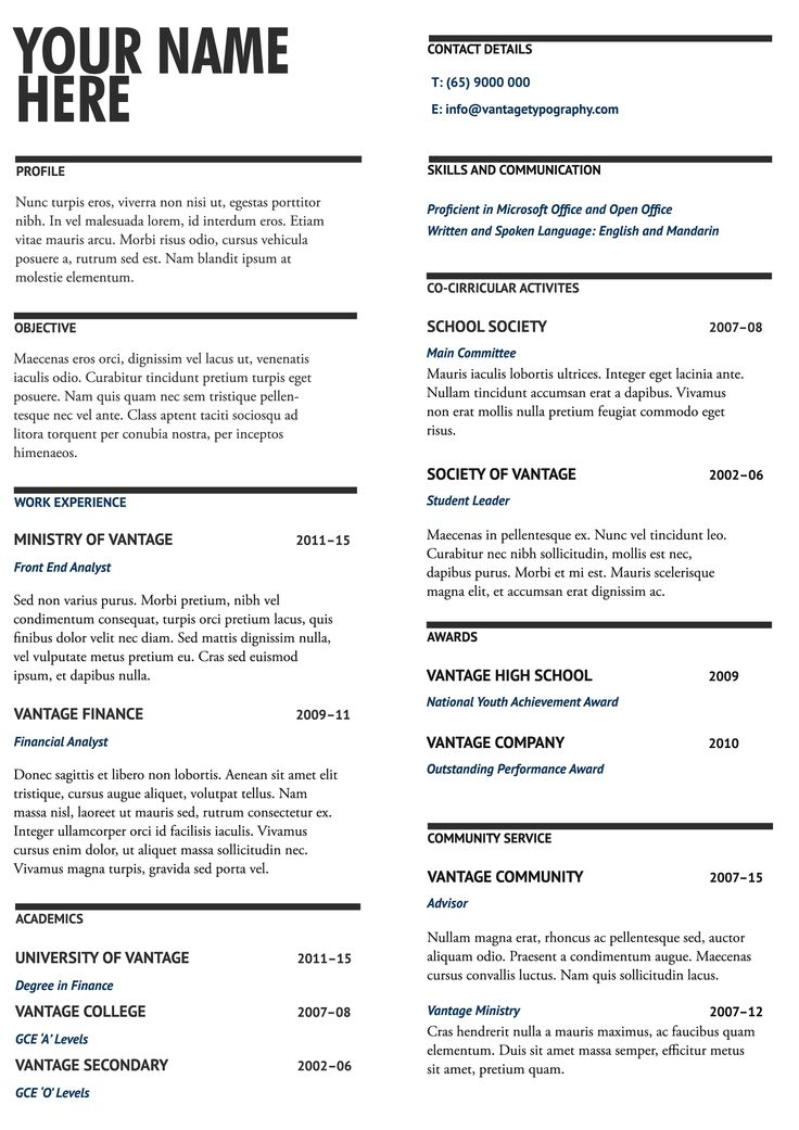 Black and blue. Resume template design #06. Make it concise, make it impactful. #resume #resumeideas #resumetemplate #resumedesign #resumewriting #vantagetypography
