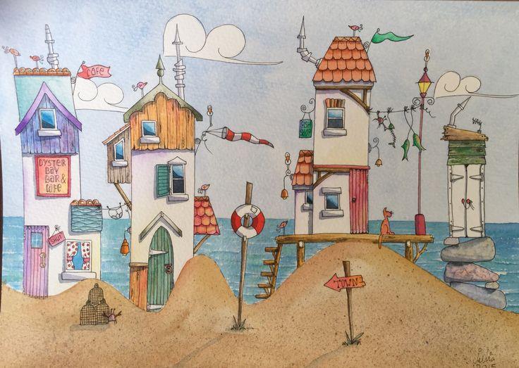 Beach hut watercolour