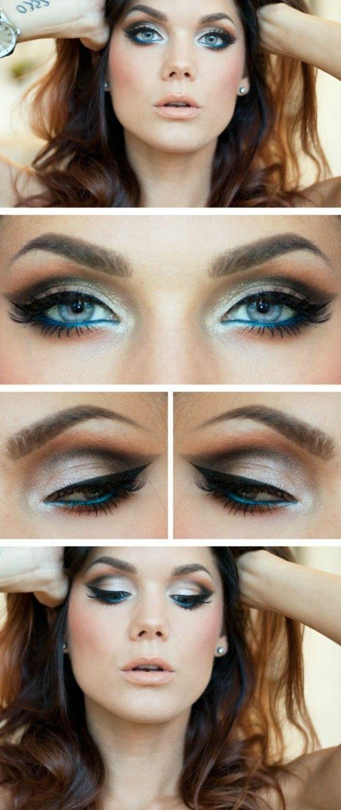 tuto facile et rapide pour comment maquiller les yeux bleus, smokey make up pour yeux bleus