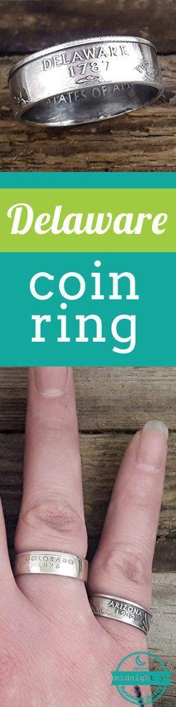Delaware 90% Silver State Quarter Coin Ring #delaware #coinring