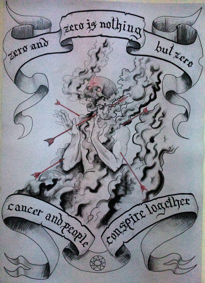 Diseño de sujeto cabeza de calavera en medio de un ataque con flechas, hecho en tecnicas mixtas carboncillo, plumones y grafito