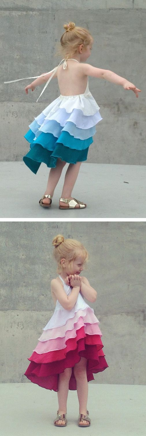 Girls Flamenco Party Dress in Aqua Blue Ombré