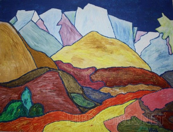 """Картина маслом """"Горы-Горы"""".  Картина написана маслом на холсте, размером 30х40 см, без рамы.   Этой картиной я попыталась передать хорошо известную истину, что лучше гор, могут быть только горы!   Цвета """"в живую"""" несколько поярче."""