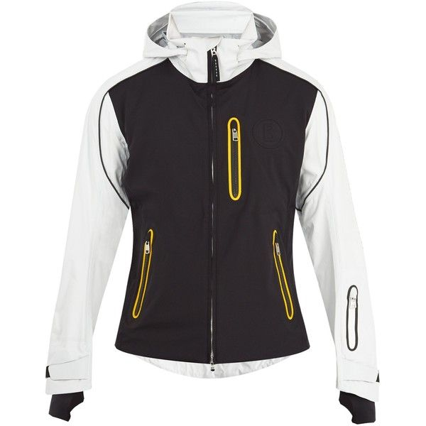 Bogner Paolo technical ski jacket ($730) ❤ liked on Polyvore featuring activewear, activewear jackets, white multi and mens ski apparel