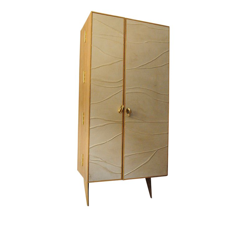 """KRYPTOS""  bookcase in natural oak, full grain leather and brass.   NB Milano"