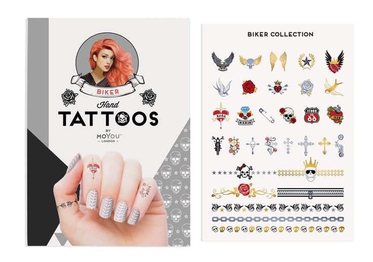 MoYou-London Temporary Tattoos Colour: Biker 01  The perfect addition to your MoYou-London mani!  1 sheet of temporary tattoo designs. Comes in its own branded protective sleeve  Check out our nail art kit here: https://www.readybeauty.ca/collections/nail-art-jewellery/products/moyou-london-biker-temporary-colour-tattoos
