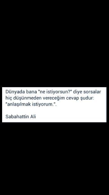Anlaşılmak istiyorum Sabahattin Ali