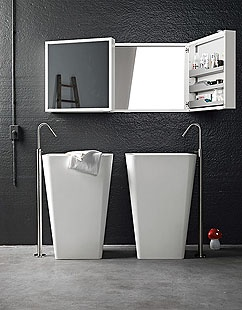 Ideal for the bathroom, Mini Box wall cabinet in aluminium are available in two versions: with a single door, which can be installed with a Rh or Lh opening, or with a double door. In both cases, the doors are equipped with external mirrors, with a frame in anodized aluminium or white lacquer, and removable internal shelves in water-resistant material. These are shaped to prevent objects from falling off them. The internal surface fastened to the wall also has a mirror finish #design…