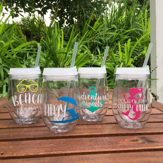 Bev2go Stemless Wine Glass Tumblers with lid and straw are personalized with custom printed vinyl! Choose from one of my existing designs or send