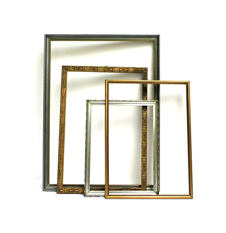 Set 4 Vintage Wood Open Frame Picture Mirror Wall Hanging Gallery Gold Silver Distressed Rustic Display Mismatched Collection Wedding Decor by WoodHistory on Etsy