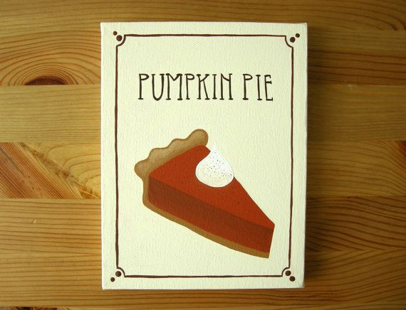 Pumpkin Pie Painting  Kitchen Wall Art  by OhDeerIllustrations