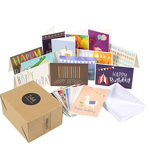 144 Pack Assorted Greeting Happy Birthday Cards