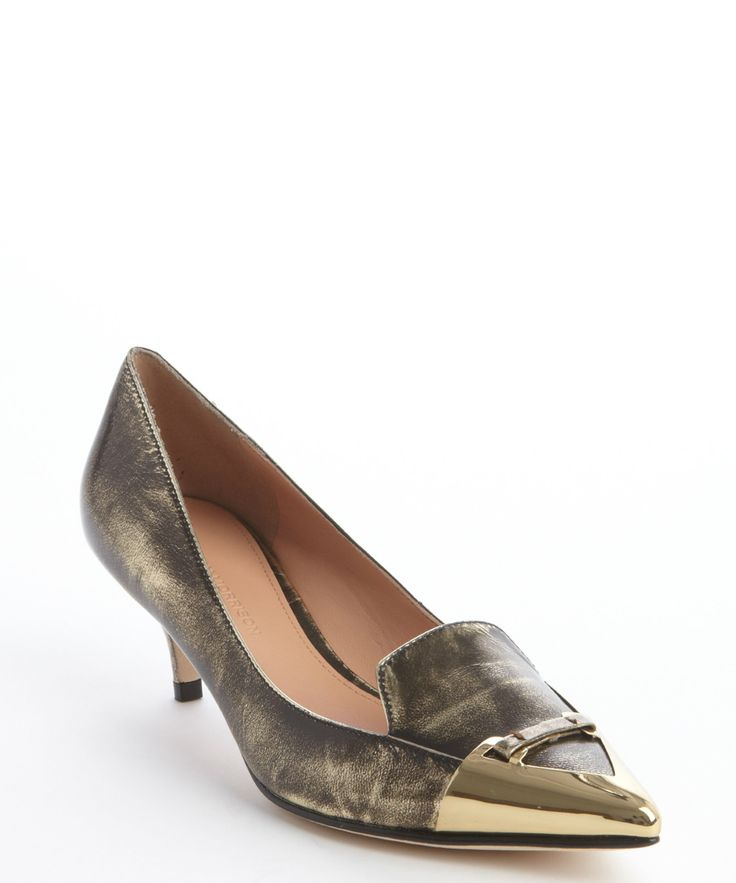 Sigerson Morrison bronze 'Pacifico' point toe mid-heel pumps | BLUEFLY up to 70% off designer brands