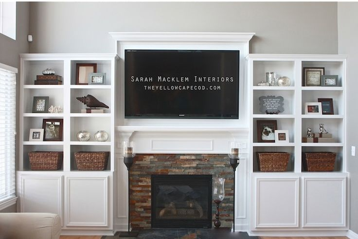 Built ins - that are not flush with mantle on fireplace  Sarah Macklem Interiors - living rooms - Sherwin Williams - Fawn Brindle - built ins, built in cabinets, living room built ins, living room ...
