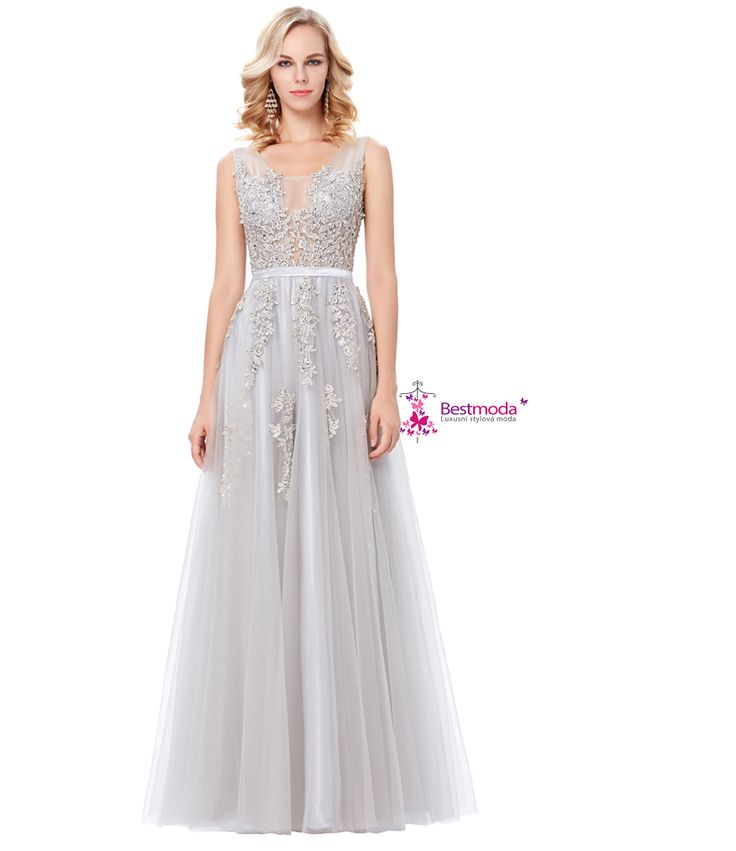 Gray evening dress with lace applique