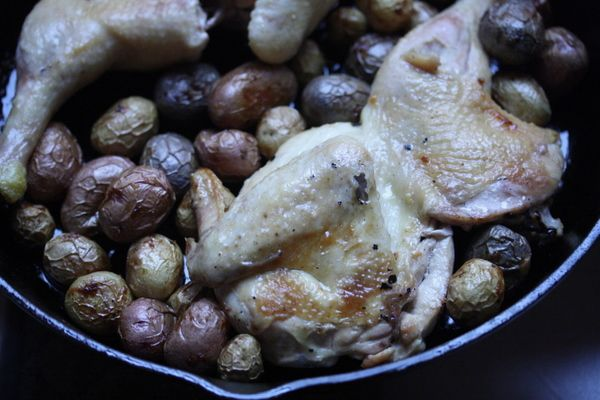 Cast Iron Chicken with Roasted Root Vegetables and White Wine Jus Recipe