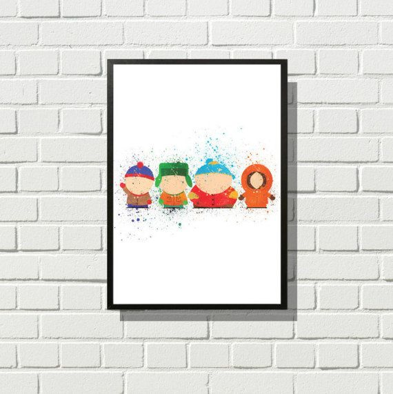 South Park Inspired Poster Print | Watercolour | A2 Size-Resizable | Digital Download | Stan, Kyle, Cartman, Kenny | Tv Show Art| Minimalist