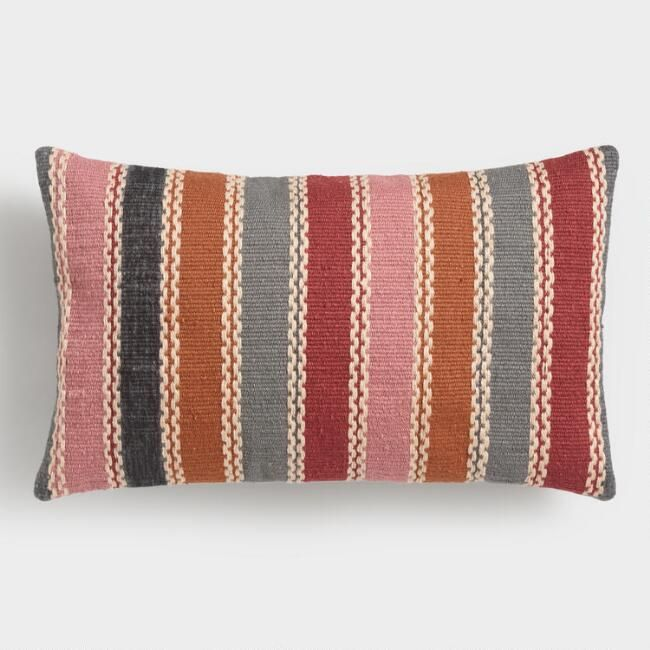 Made From Recycled Plastic Bottles Our Lumbar Pillow Features Burgundy Gray Orange And Pink Stripes On The Front Outdoor Throw Pillows Throw Pillows Pillows