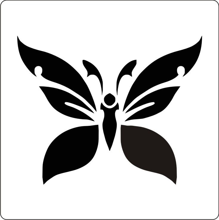 Butterfly Stencil Templates Free | ... Stencil Cake Decoration Airbrush Tattoos Body Painting Butterfly #A14