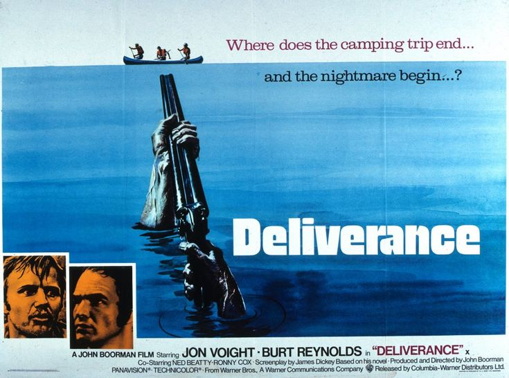 Deliverance (1972) - Four city men go for a weekend of river adventures in the Appalachians. The expedition turns into a nightmare after they meet two hillbillies and steer their canoes through turbulent rapids. James Dickey's novel is the source of a terrifying cinematographic experience where Boorman debunks the myth of regeneration through violence so dear to the old west. As with earlier Boorman protagonists, Ed (John Voight) – in his quest for his own identity – lives out a bad dream.