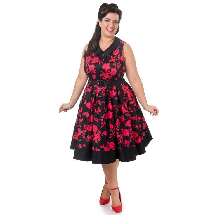 Hazel vintage Inspired Swing Dress in Black/Red Floral