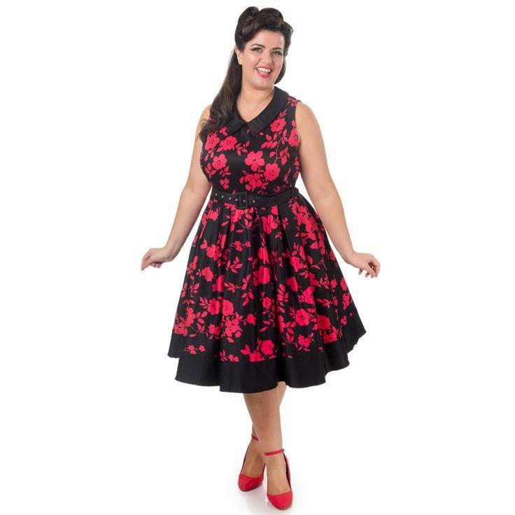Hazel vintage Inspired Swing Dress in Black/Red Floral