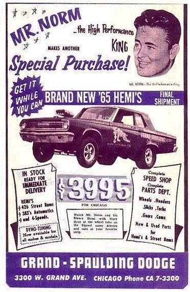1965 Mr. Norm's Grand Spaulding Dodge ad. If you lived in the mid west, OMG this guy was king!