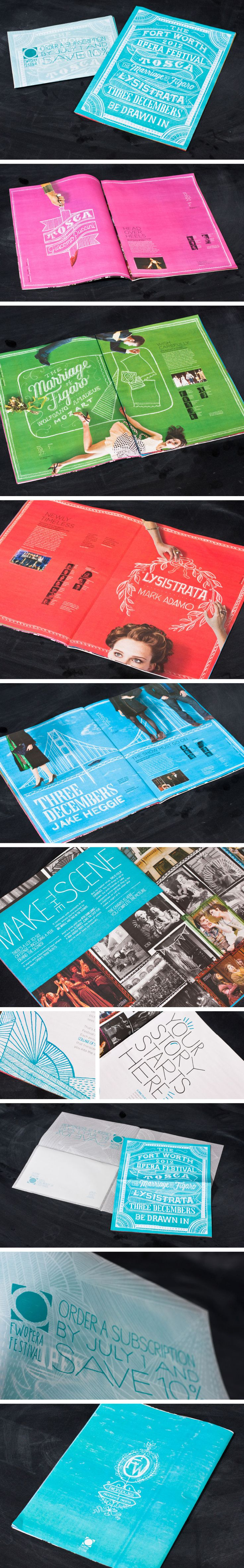 Fort Worth Opera brochure | Designer: Matchbox  Layout/typographic headlines/vibrant color