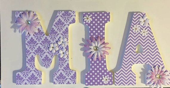lavender baby nursery letters wood letters by DeesDazzleDesigns