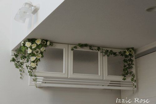 DIY instruction how to make a french & antique style - shabby chic cover of air conditioner.『DIYでシャビーシックなインテリア&ガーデニング』室内用木製エアコンカバーDIY作り方