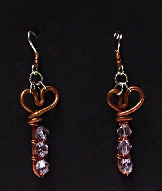Purple heart shaped earrings, Lavender Wedding favors for women, Copper Anniversary Gift for wife jewelry, Small bohemian earrings #earrings #violet #lavender #heart