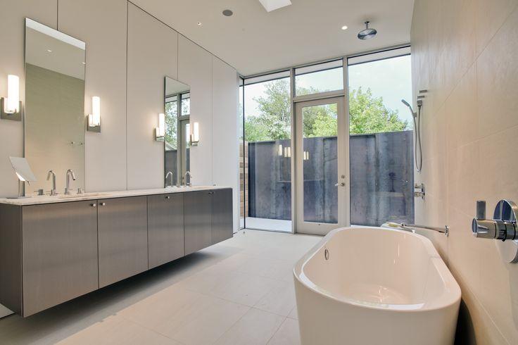 Modern bathroom, floating cabinets, minimal design