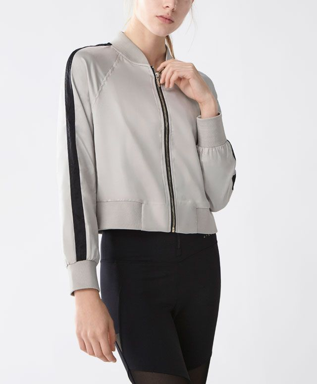 Bomber jacket - Sport collection - Ohanami - Spring Summer 2017 trends in women fashion at Oysho online. Find lingerie, pyjamas, slippers, nighties, gowns, fluffy, maternity, sportswear, shoes, accessories, body shapers, beachwear and swimsuits & bikinis.