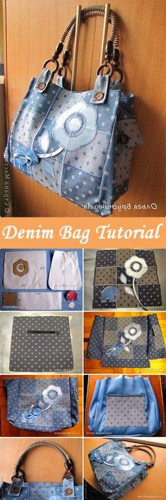 How to sew a bag of denim? Tutorial with photos and pattern.   http://www.handmadiya.com/2012/07/beautiful-denim-bag-diy-tutorial.html
