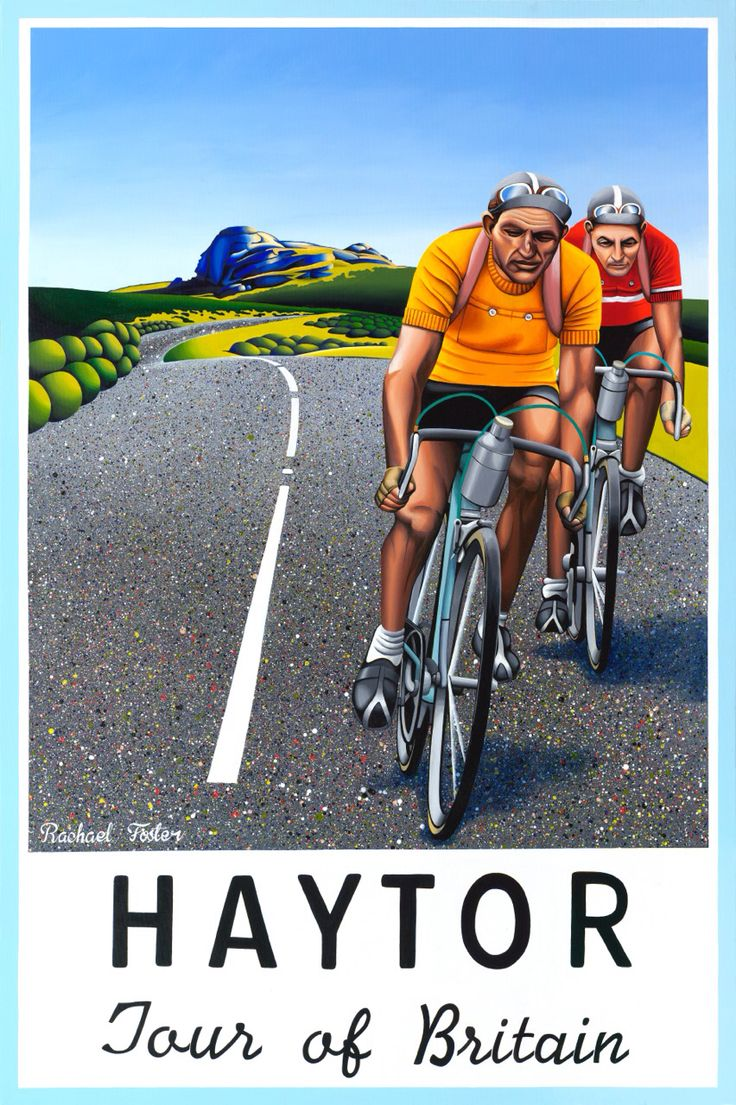 HAYTOR Original Painting // Acrylic on Canvas 1200 x 800mm They conquer Dartmoor like spartans yet sustain a humble reverence for the ruthless brutality she chooses to withhold. 1948 inspired cycling poster. Bartali & Coppi  http://rachael-foster.com/collections/originals/products/haytor