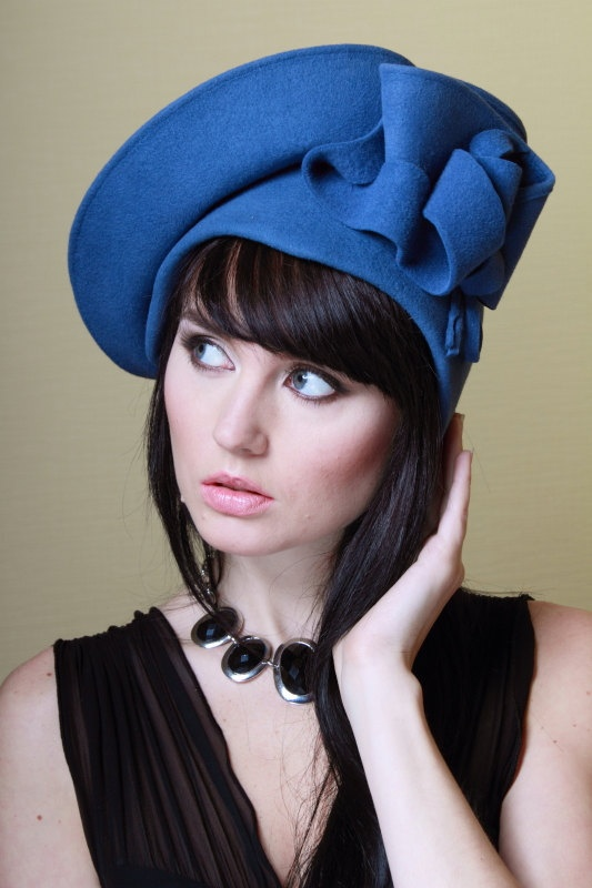 Nice handmade felt hat Dominika Made to order in by VChadyukShop