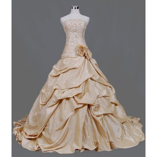 Gold wedding dress with beaded lace bodice french bustled for Gold beaded wedding dress