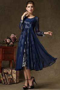 Navy Spaghetti Strap Vintag Floral Two Pieces Dresse US$37.00