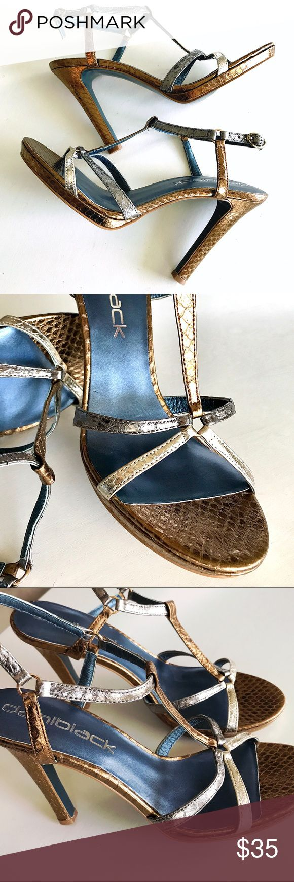 DANIBLACK Metallic Strappy High Heel Sandals 8 Like New! Only worn for an hour. Adjustable ankle strap. Color: bronze, silver, & pewter. Embossed snakeskin pattern. Smoke and pet free. daniblack Shoes Heels