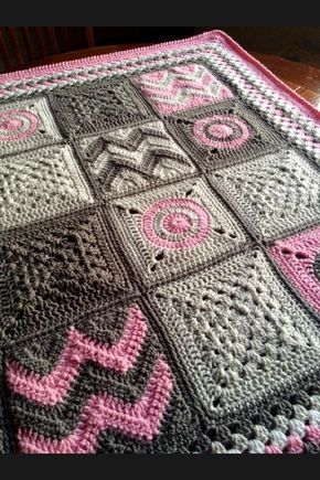 All different squares, crochet blanket. Pretty, In Pinks and Greys