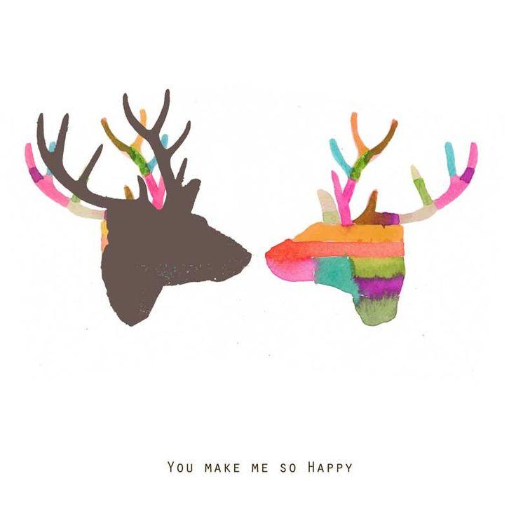You make me so happy Fine Art print Giclee Antlers deer friendship gemini Romantic colorful