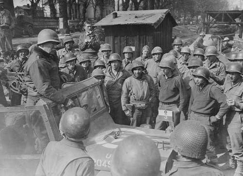 George Patton speaking to US 3rd Army engineers, Germany, March 1945.