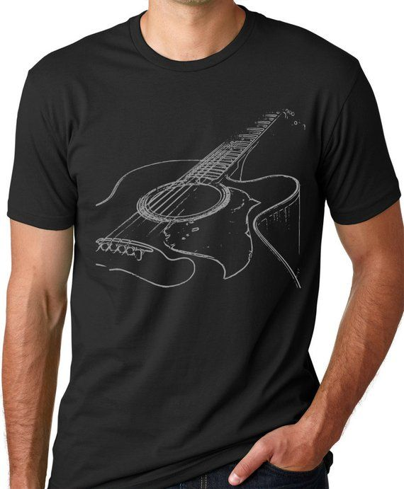 acoustic guitar t shirt musician tee think out loud apparel 100 cotton guitar player gift for. Black Bedroom Furniture Sets. Home Design Ideas
