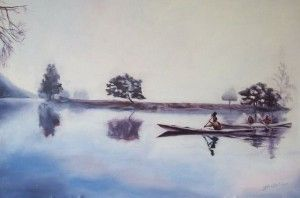 Silence 80Cm X 53Cm. Oil On Canvas. Kayaks In The Morning Mist. Phillip Carrero.