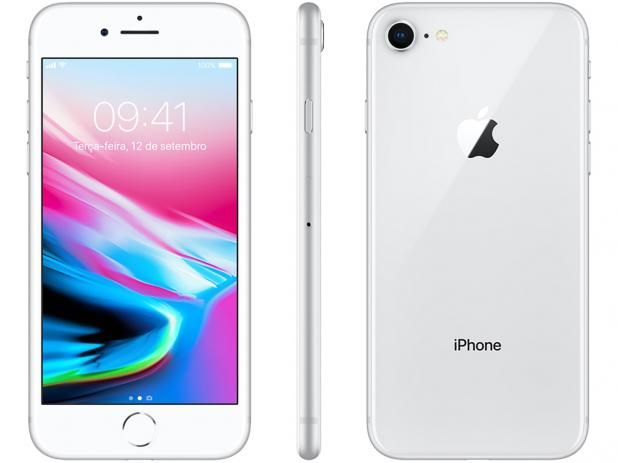 Iphone 8 64gb Prata Tela 4 7 Ios 4g Camera 12mp Apple Em 2020