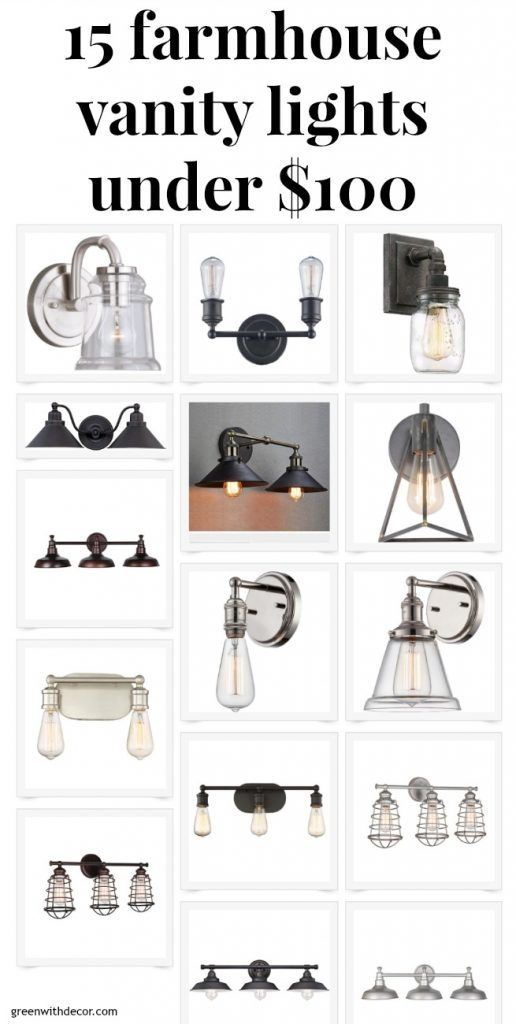 15 farmhouse vanity lights under $100, great ideas for shopping for bathroom light fixtures on a budget. Good silver or bronze options!