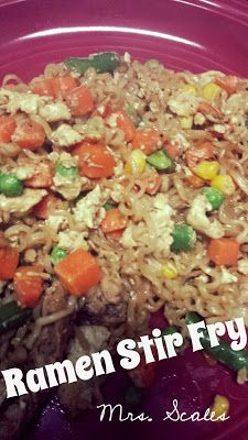 Mrs. Scales' Recipes n' Things: Ramen Noodle Stir Fry (Cheap & Easy Dinners). Way, way too EZ!!