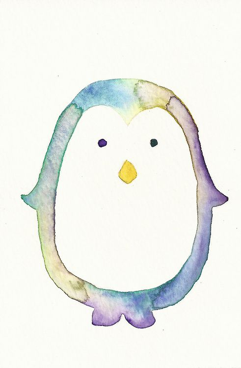 watercolor penguin... This would be pretty awesome as a tattoo!