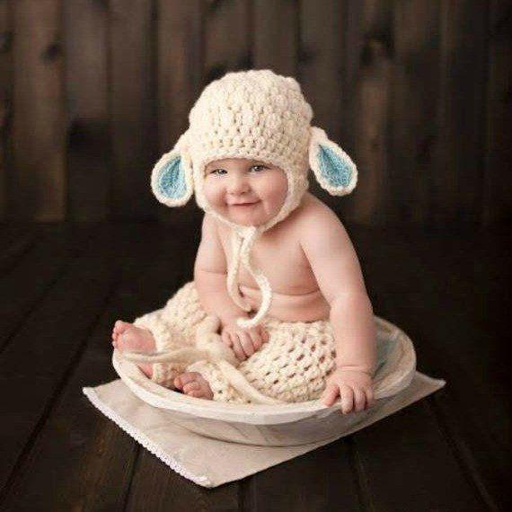Crochet Baby Lamb Bonnet Beanie Hat Pants Diaper Cover Set Infant Newborn Baby Handmade Photography Photo Prop Baby Shower Gift Present Spring Easter