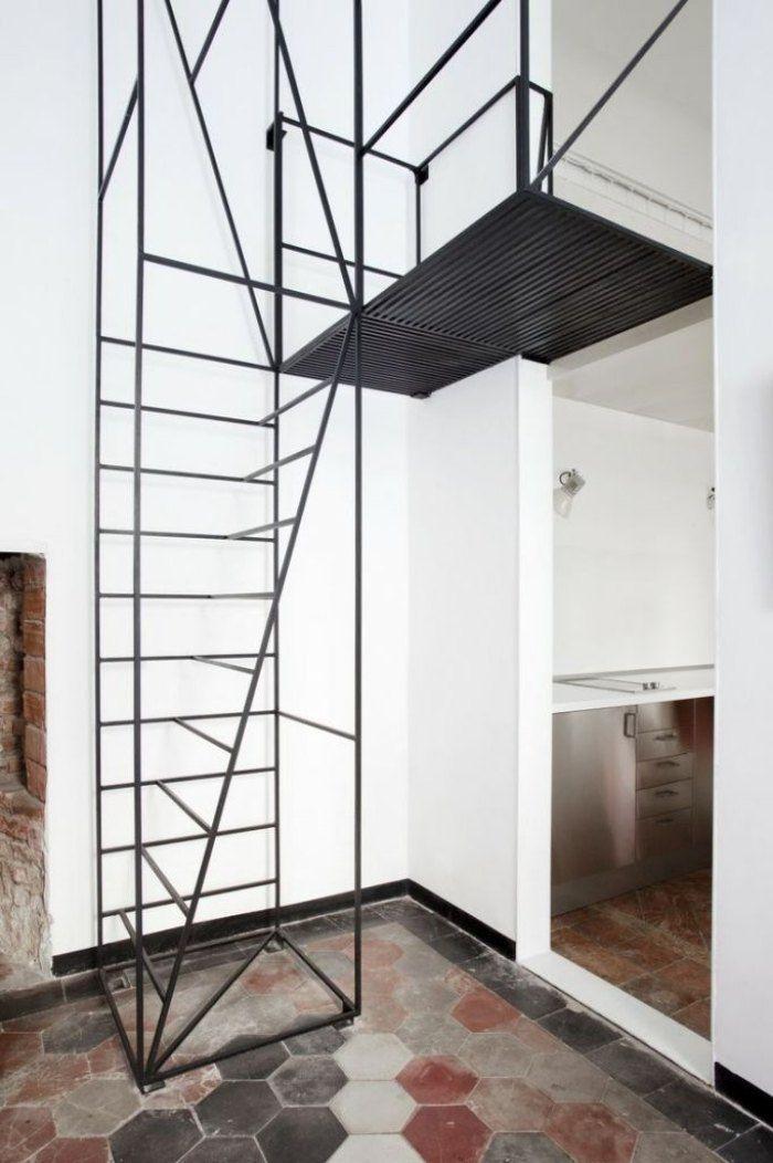 Treppenstufen Holz Raumspartreppe ~   Metalltreppe auf Pinterest  Treppe, Treppenstufen und Geländer